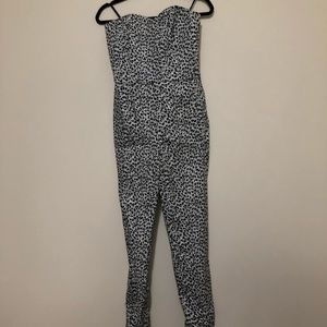 Michael Kors strapless animal-print jumpsuit NWT